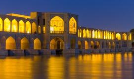 Antyczny Khaju most, polityk Khaju w Isfahan, Iran obraz stock