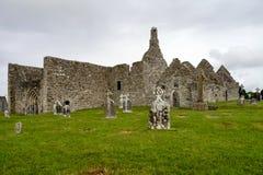 Antyczny klasztorny miasto Clonmacnoise w Irlandia obrazy royalty free