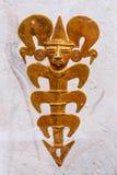 Antyczny Kolumbijski złocisty breloczek przedstawia szamanu jako crustacean zdjęcia royalty free