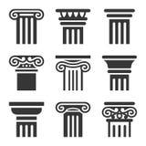 Antyczny kolumny ikony set wektor ilustracji