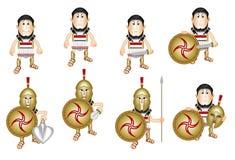 Antyczny kreskówka grka hoplita ilustracji