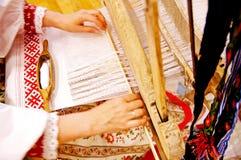 antyczny krosienko rosjanin wyplata kobiety drewnianej Zdjęcie Royalty Free