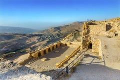 Antyczny krzyżowa kasztelu widok Forteczny Kerak Jordania Obrazy Royalty Free