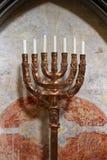 Antyczny lampa stojak Menorah Zdjęcia Royalty Free