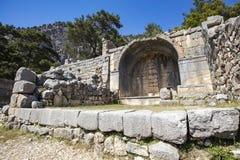 Antyczny Lycian miasto Arykanda Przegląd sala gimnastyczna kompleks obrazy stock