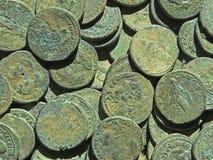 Antyczny menniczy skarb Stemplujący miedziany round pieniądze zdjęcie royalty free