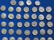 Antyczny menniczy skarb Stemplujący srebny round pieniądze obraz royalty free
