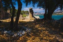 Antyczny miasteczko Butrint, Buthrotum - turystyczny przyciąganie w Albania fotografia stock