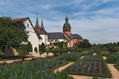 Antyczny monaster Seligenstadt, historyczny barokowy buduje Basili Fotografia Royalty Free