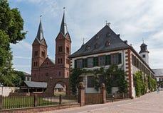 Antyczny monaster Seligenstadt, historyczny barokowy buduje Basili Obrazy Stock