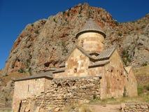 Antyczny ortodoksyjny kamienny monaster w Armenia, Noravank, robić żółta cegła zdjęcia stock