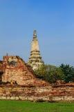 Antyczny pagodowy pobliski rujnujący ściana z cegieł, Ayutthaya Obraz Stock