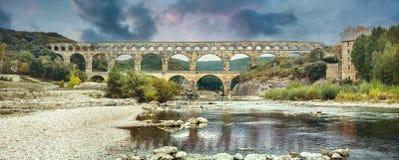 Antyczny Pont du Gard rzymski akwedukt Francja, Provence zdjęcie stock