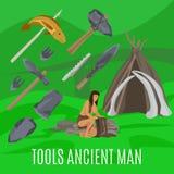 Antyczny prehistoryczny pojęcie z pierwotnymi narzędziami ilustracji