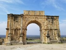 Antyczny Romański miasto Volubilis, Maroko obraz stock