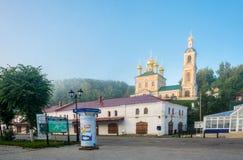 Antyczny Rosyjski miasteczko Plyos w wczesnym poranku, 27th Czerwiec 20 Obraz Stock