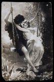 Antyczny Rosyjski pocztówkowy początku XX wiek, wiosna, coupl obraz stock