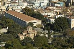 Antyczny rynek i Stary Bizantyjski kościół, Ateny, Grecja Obrazy Stock