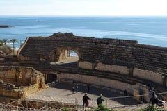 Antyczny rzymski amphitheatre Tarragona, Catalonia, Hiszpania fotografia stock