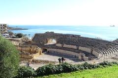 Antyczny rzymski amphitheatre Tarragona, Catalonia, Hiszpania obraz royalty free