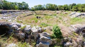 Antyczny rzymski Amphitheatre w Syracuse mieście Obraz Stock