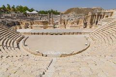 Antyczny rzymski teatr przy zakładu Shean Scythopolis parkiem narodowym, Izrael obrazy royalty free