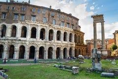 Antyczny rzymski Theatre Marcellus, Teatro Di Marcello w Rzym Włochy obraz royalty free