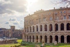 Antyczny rzymski Theatre Marcellus w Rzym Obrazy Royalty Free