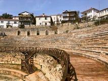 Antyczny rzymski theatre w ohrid Macedonia zdjęcia royalty free