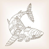Antyczny szkic machinalny rekinu wektor royalty ilustracja