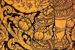 Antyczny Tajlandzki wzór na ścianie w Tajlandia Buddha świątyni, azjata Buddha stylu sztuka, Piękny wzór na świątyni ścianie zdjęcie stock