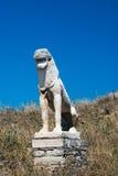 Antyczny taras lwy przy Delos wyspą Obrazy Royalty Free