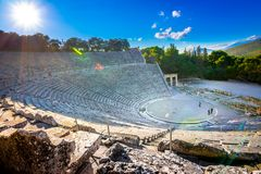 Antyczny teatr Epidaurus lub ` Epidavros `, Argolida prefektura, Grecja obraz royalty free