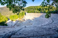 Antyczny teatr Epidaurus lub ` Epidavros `, Argolida prefektura, Peloponnese fotografia royalty free