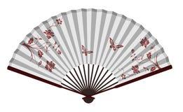 Antyczny tradycyjni chińskie fan z kwiatami I motylami ilustracja wektor