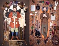 Antyczny Viking i nowożytny modniś Mnóstwo materiał codzienny używa Elegancki w pojawieniu fotografia royalty free