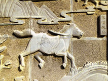 Antyczny wojennego konia kamienny zawalać się Zdjęcia Royalty Free