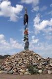 Antyczny wojenny ovoo - tradycyjny religijny święte miejsce Zdjęcia Stock