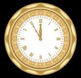 Antyczny zegar żółty metal z ornamentami i rzymskimi liczebnikami, rocznik odizolowywający przedmiot na czarnym tle Zegar w sztuc Zdjęcia Stock
