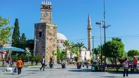 Antyczny Zegarowy wierza w Antalya zdjęcie wideo