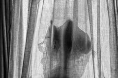 Antydd eftertänksam blick av en kvinna bak en gardin arkivfoto