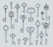 Antyków klucze ustawiający Ręki rysować średniowieczne wektorowe ilustracje starzy przedmioty odizolowywają na bielu ilustracja wektor