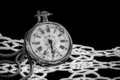 Antyk łamający kieszeniowy zegarek na czarnej aksamitnej biel koronce i tkaninie Zdjęcie Royalty Free