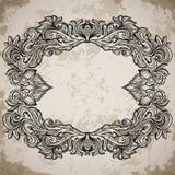 Antyk granicy ramy rytownictwo z retro ornamentu wzorem Rocznika projekta dekoracyjny element w baroku stylu na starzejącym się p Zdjęcia Stock