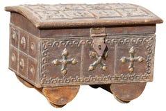Antyk, Handmade biżuterii klatka piersiowa od India, na Białym Backgroun Obrazy Stock