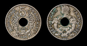 Antyk moneta 5 centymów Zdjęcie Royalty Free