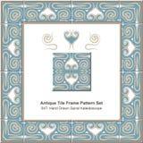Antyk płytki ramy wzór set_047 ręka Rysujący Ślimakowaty Kaleidoscop royalty ilustracja