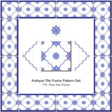 Antyk płytki ramy wzoru set_176 Błękitnej gwiazdy kwiat ilustracja wektor