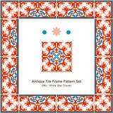 Antyk płytki ramy wzoru set_086 bielu gwiazdy kwiat ilustracja wektor