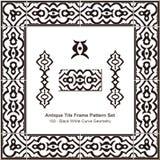 Antyk płytki ramy wzoru set_193 bielu krzywy Czarna geometria royalty ilustracja